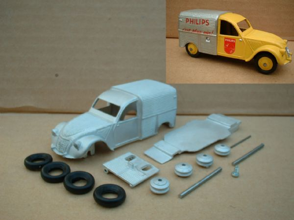 A DINKY TOYS COPY MODEL 25D 2CV CITROEN PHILIPS [ IN KIT FORM ]